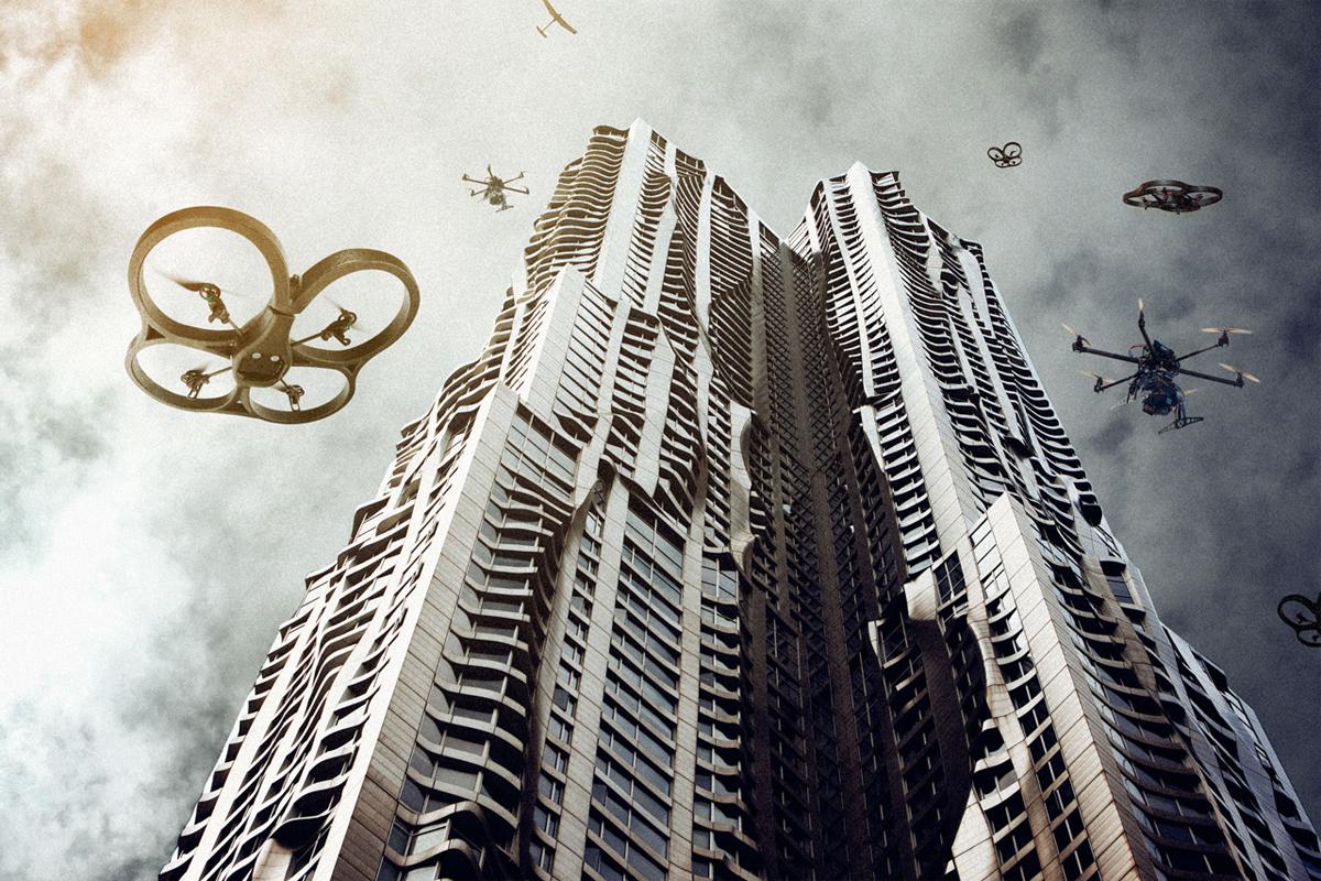 drones-om-gebouw-vliegend
